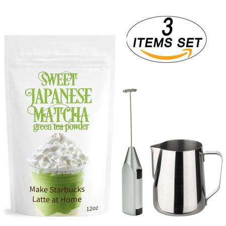 Sweet Japanese Matcha Set – Green Tea Kit - (12oz) 100% Organic Pure Matcha + Matcha Milk Frother Electric + Milk Frothing Pitcher – Matcha