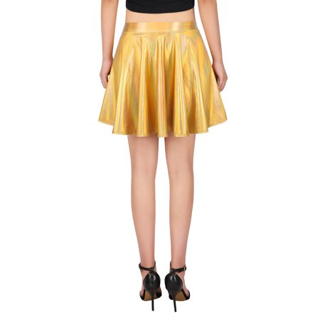 41d0230422e5b HDE Women's Shiny Liquid Metallic Holographic Pleated Flared Mini Skater  Skirt (Holographic, ...