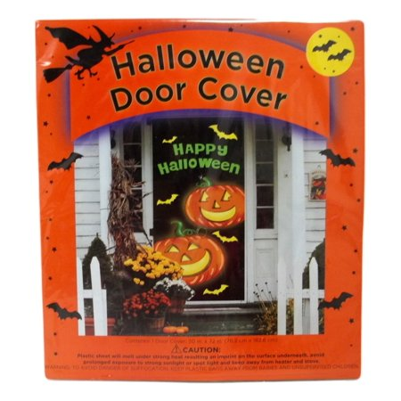 Halloween Door Cover 30 x 72 Happy Jack O'Lanterns - Braces Spacers Happy Halloween