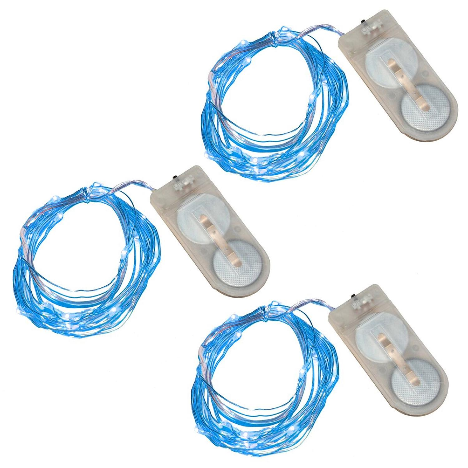 3 Battery Operated Bright Blue 20 LED Micro Rice Christmas Lights - Silver Wire