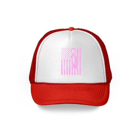 Awkward Styles Breast Cancer Awareness Hat Pink Ribbon Trucker Hat for Men and Women Pink Cancer Support Flag Snapback Hat Gifts for Cancer Survivor Cancer USA Flag Dad Hats Cancer (Cancer Awareness Trucker Hat)