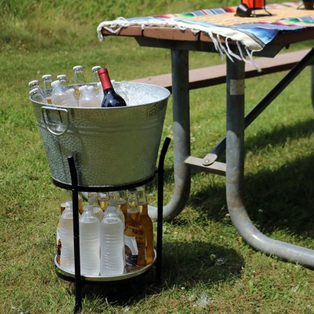 Sunnydaze Ice Bucket Drink Cooler with Stand and Tray for Parties, Pebbled Galvanized Steel, Holds Beer, Wine, Champagne and More](Galvanized Steel Buckets)