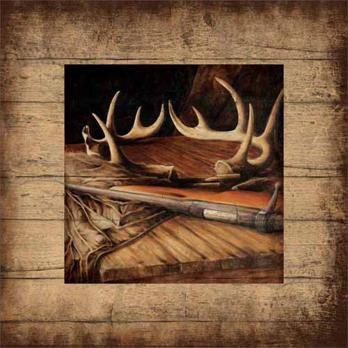 Deer Buck Hunting Antlers Gun Ammo Wood Grain Distressed Lake Lodge Painting Tan & Brown Canvas Art by Pied Piper Creative