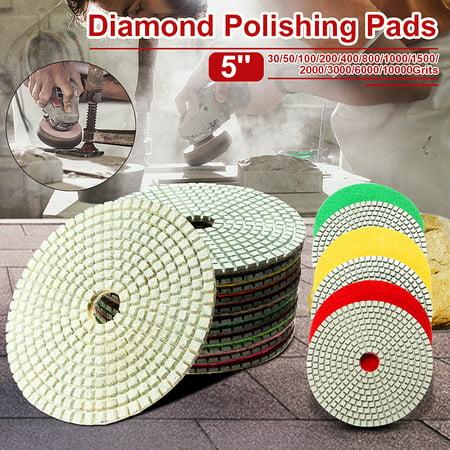 1Pc Premium Polishing Pads Wet/Dry Diamond Polishing Pads For Granite Concrete Marble Polish, Grit 30-100000 Dry Concrete Diamond Polishing Pad