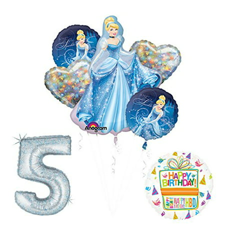 Cinderella 5th birthday party supplies and princess balloon decorations](Cinderella Birthday Party)