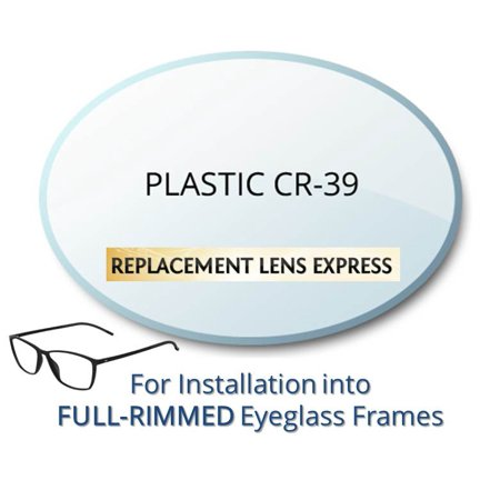 Single Vision Plastic CR39 Prescription Eyeglass Lenses, Left and Right (One Pair), for installation into your own Full-Rimmed Frames, Anti-Scratch Coating (Round Plastic Eyeglass Frames)