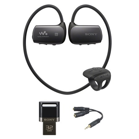 Sony 4Gb Bluetooth Sports Wearable Mp3 Player   Black  Nwz Ws613blk  With Sony 32Gb Usb 3 0 Flash Drive For Smartphone And Tablets   Belkin Speaker And Headphone Splitter