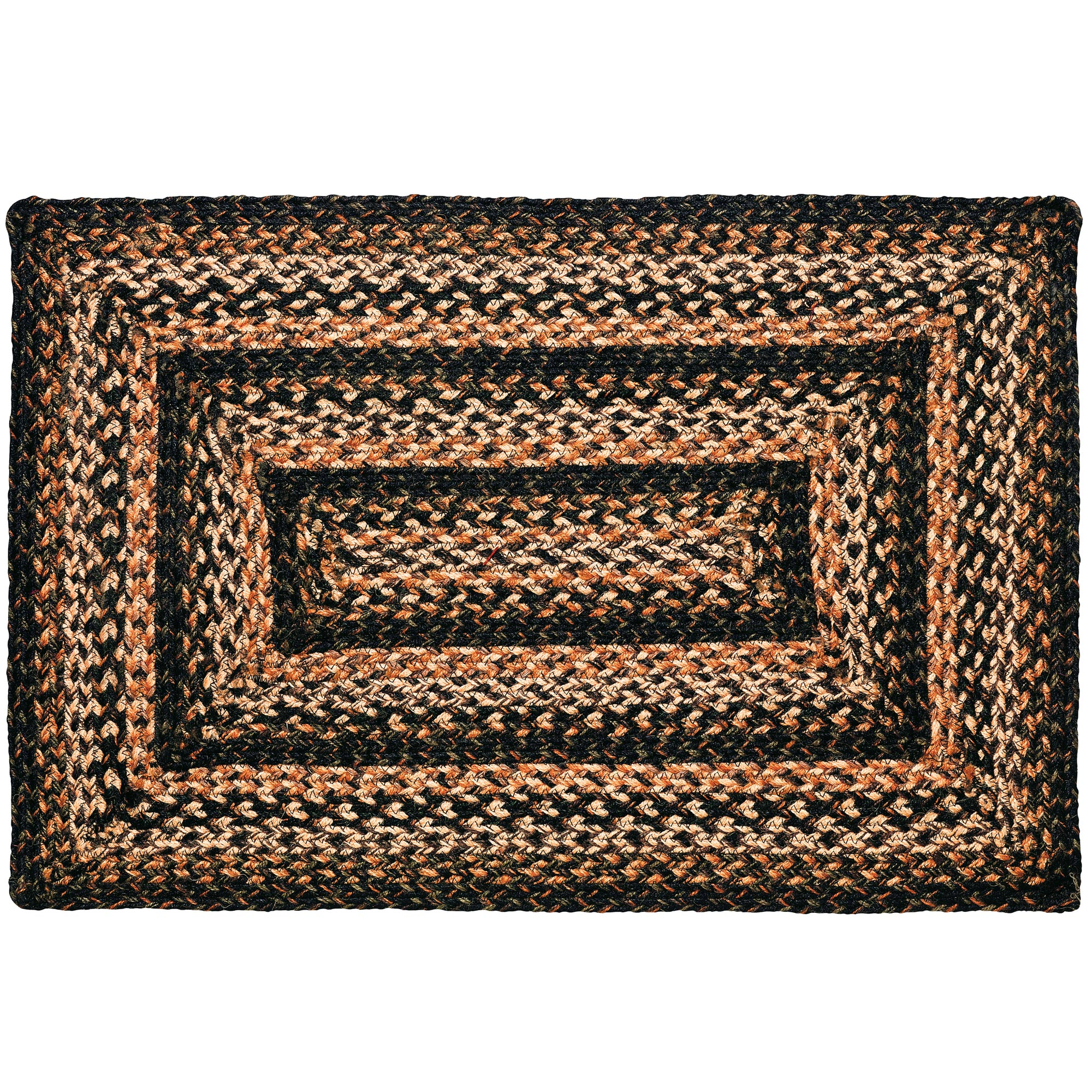 Braided Rug Black Forest Jute Country Primitive IHF by IHF Limited