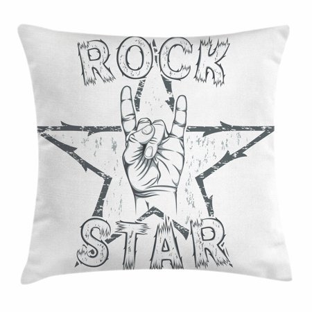 Rock Star Themed Classroom (Popstar Party Throw Pillow Cushion Cover, Rock Star Theme High Sign and Star Figure Grungy Sketch Gesture Vintage, Decorative Square Accent Pillow Case, 18 X 18 Inches, Black and White,)
