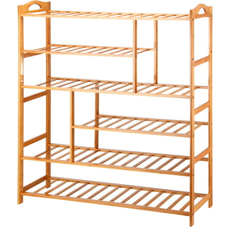 Mllieroo Portable 6 Shelves Bamboo Shoe Rack Entryway Shoe Shelf Storage Free Standing Shoe Racks Organizer ()