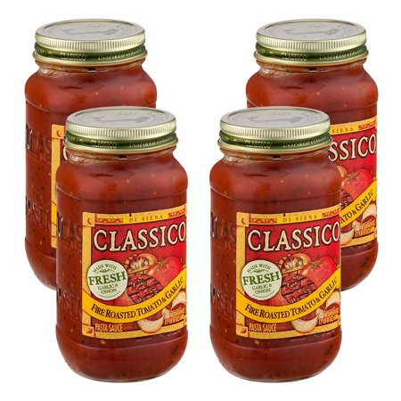 (4 Pack) Classico Fire Roasted Tomato and Garlic Pasta Sauce, 24 oz (Best Pasta Sauce Brand)