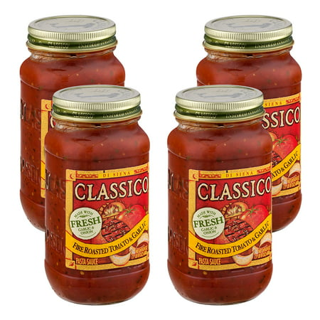 (4 Pack) Classico Fire Roasted Tomato and Garlic Pasta Sauce, 24 oz Jar