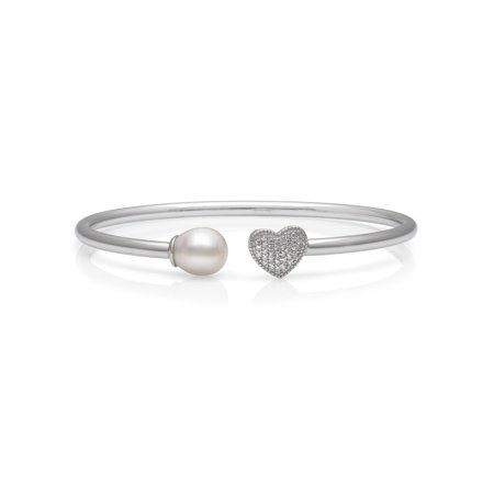 - 8-9mm Genuine White Cultured Freshwater Pearl and CZ Encrusted Heart Sterling Silver Open Bangle Bracelet, 6.5