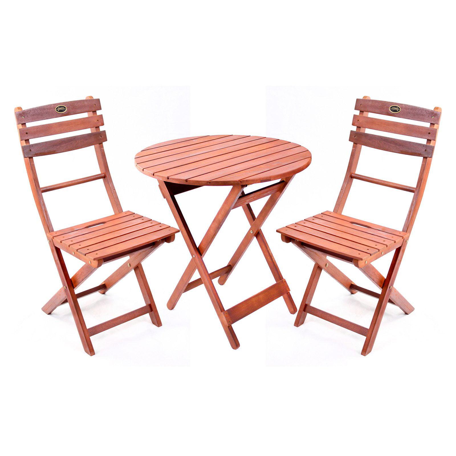 Wooden 3 Piece Bistro Set with Folding Chairs Walmart