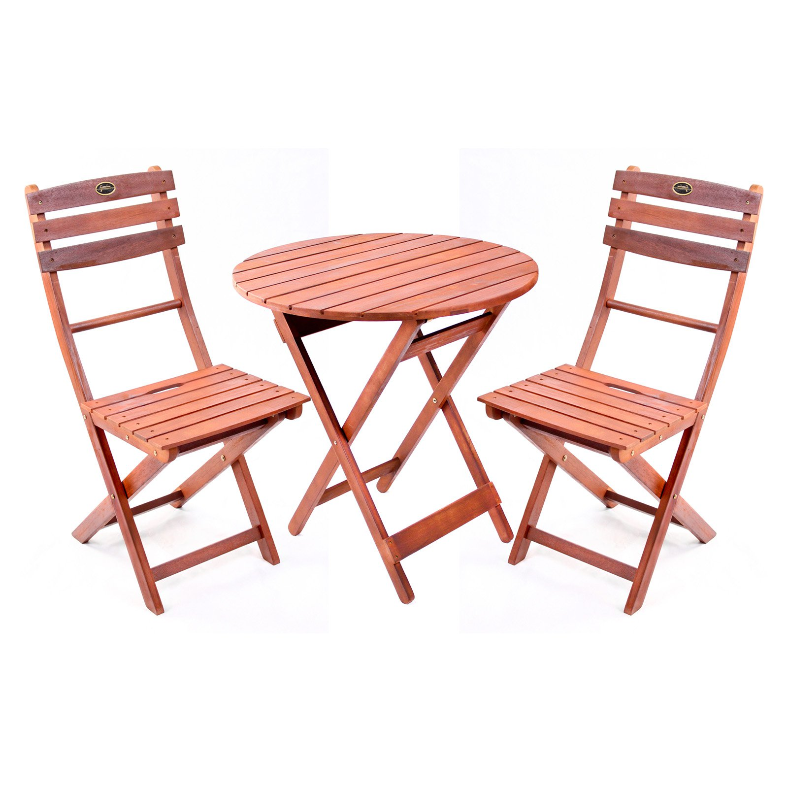Wooden 3 Piece Bistro Set With Folding Chairs