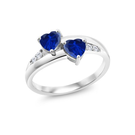 - 1.30 Ct Heart Shape Blue Simulated Sapphire 925 Sterling Silver Lab Grown Diamond Ring