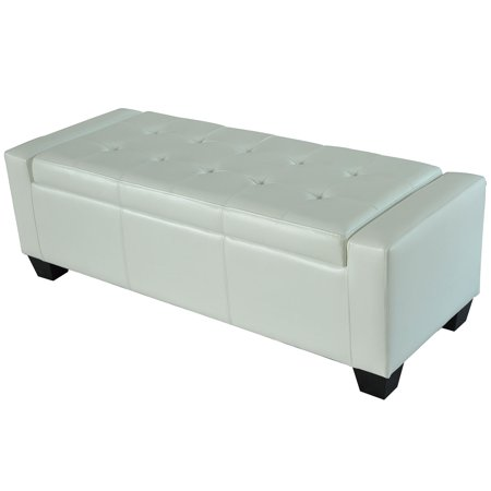 HomCom Faux Leather Storage Ottoman / Shoe Bench - White - HomCom Faux Leather Storage Ottoman / Shoe Bench - White - Walmart.com