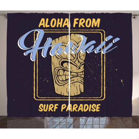 Tiki Bar Curtains 2 Panels Set, Aloha From Hawaii Surf Paradise Retro Style Tiki Statue Vintage, Window Drapes for Living Room Bedroom, 108W X 96L Inches, Indigo Apricot Pale Blue, by Ambesonne ()