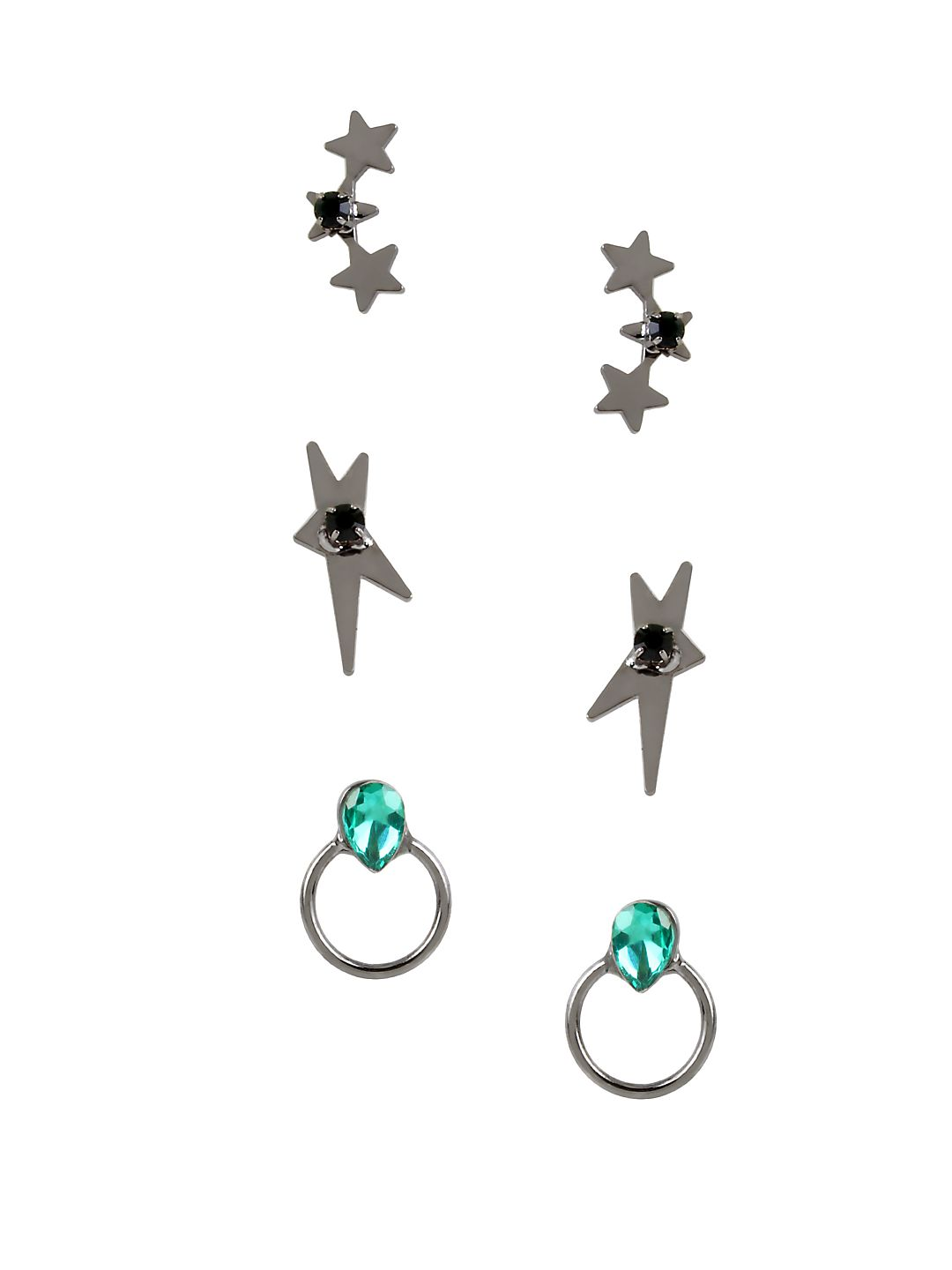 Red Carpet Confetti Hematite Star Stud Earring Set