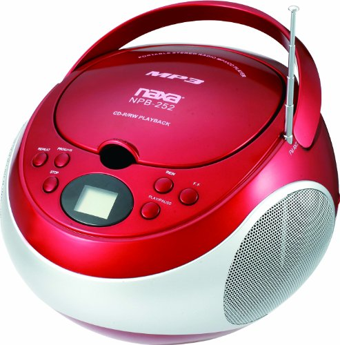 Naxa Npb252rd Portable Cd/mp3 Player With Am/fm Stereo [red]