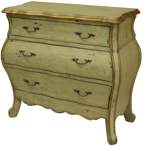 Crestview Collection Victoria 3 Drawer Shaped Bombe Chest