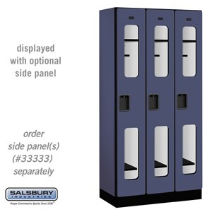 See-Through Designer Wood Locker - Single Tier - 3 Wide - 6 Feet High - 18 Inches Deep - Blue