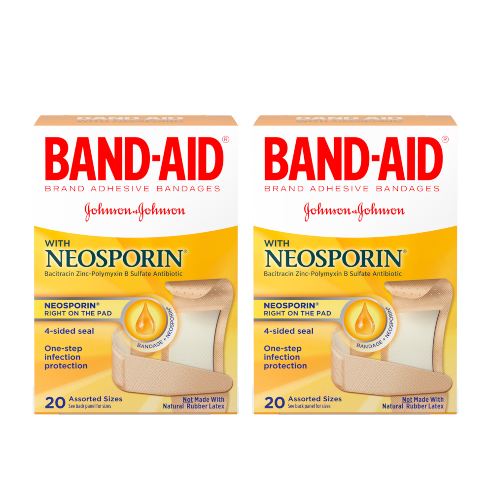 2 Pack - BAND-AID Plus Neosporin Bandages Assorted Sizes 20 Each