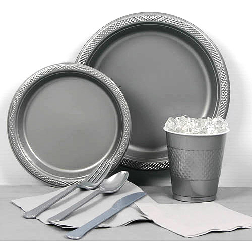 Metallic Silver Plastic Tableware Party Pack for 20  sc 1 st  Walmart : silver plastic tableware - pezcame.com