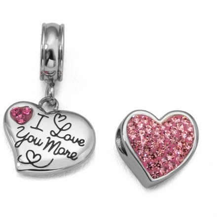 Pink Crystal Stainless Steel I Love You More Heart Charm - Heart Charms