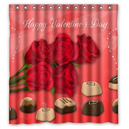 HelloDecor Valentine Happy Valentines Day Red Rose And Chocolate Shower Curtain Polyester Fabric Bathroom Decorative Size 66x72 Inches