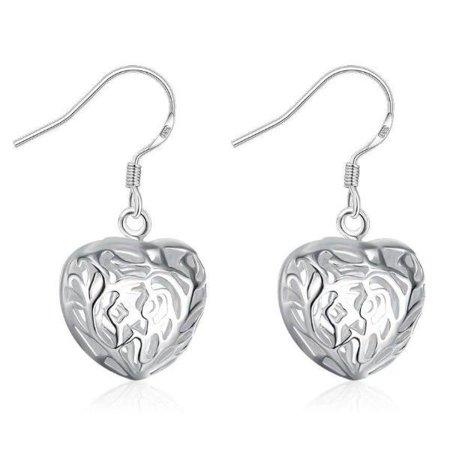 ON SALE - Cut Out Fancy Puffed Heart Earrings (Silver Cut Out Heart)