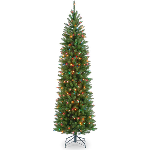 National Tree Pre-Lit 7.5' Kingswood Fir Pencil, Multi-Colored Lights