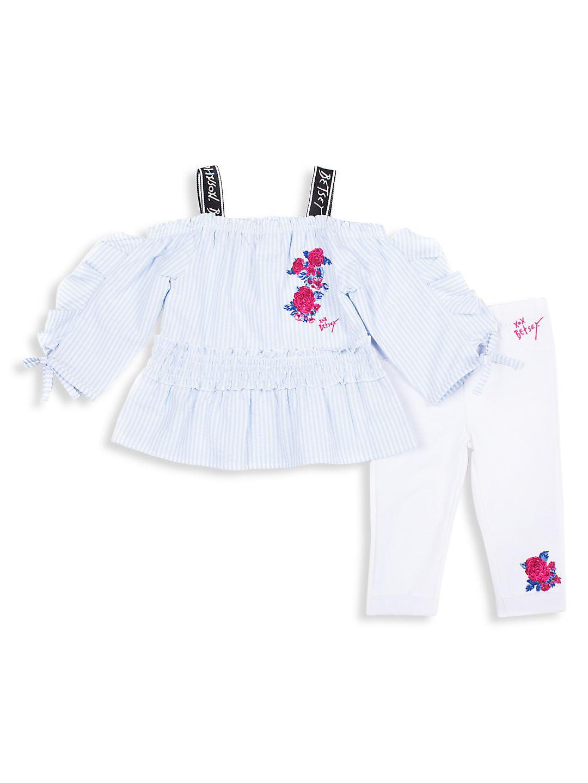 Little Girl's 2-Piece Logo Seersucker Top & Pants Set