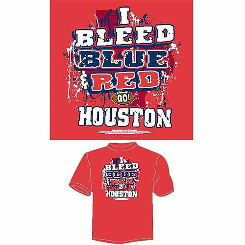 "Houston Football ""I Bleed Blue and Red, Go Houston"" T-Shirt, Red"