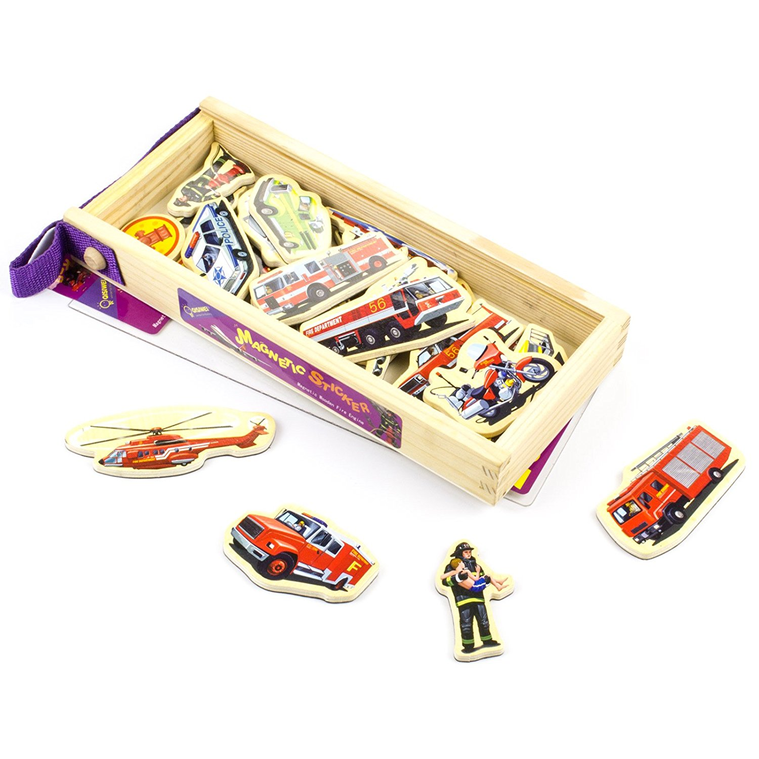 Timy 23 Wooden Magnets Magnetic Fire Engine Vehicle Set in a Box