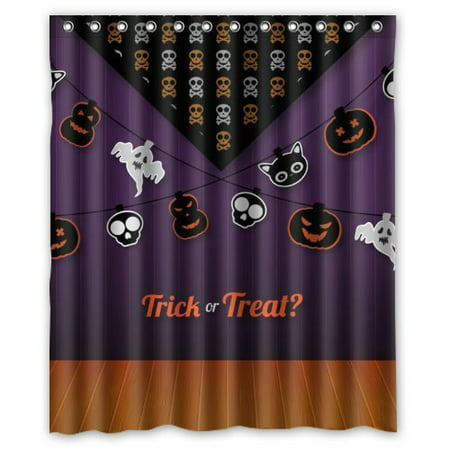ARTJIA Happy Halloween - Cool Ghost And Pumpkins In Lines Trick or Treat Shower Curtain Waterproof Polyester Fabric Bathroom Curtain 60x72 inch