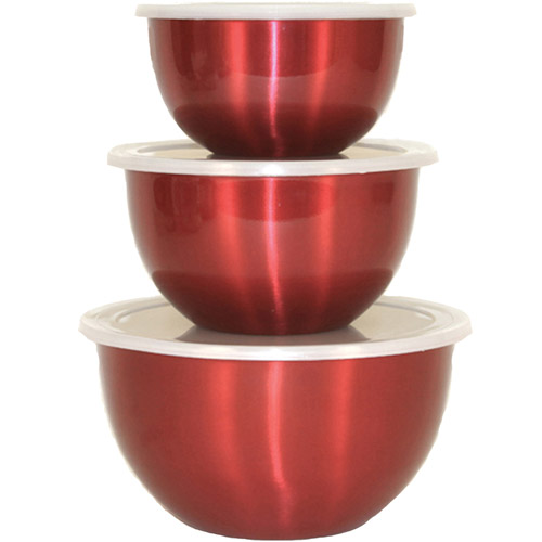 Heuck 3-Piece Stainless Steel Bowl Set with Lids, Red Lacquered Exterior
