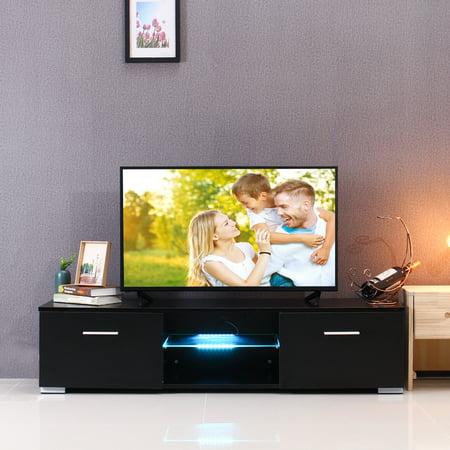TV Stand Cabinet Glass Shelves & Drawers - W/LED Light - DIY Furniture -  Black White - Living Room / Bedroom