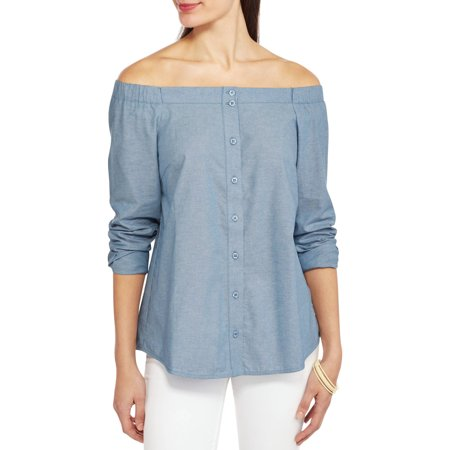 Land n Sea Women's Chambray Button Front Blouse with Off the Shoulder