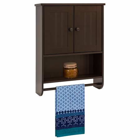 Best Choice Products Modern Contemporary Wood Bathroom Storage Organization Wall Cabinet w/ Open Cubby, Adjustable Shelf, Double Doors, Towel Bar, Wainscot Paneling - Espresso Brown ()
