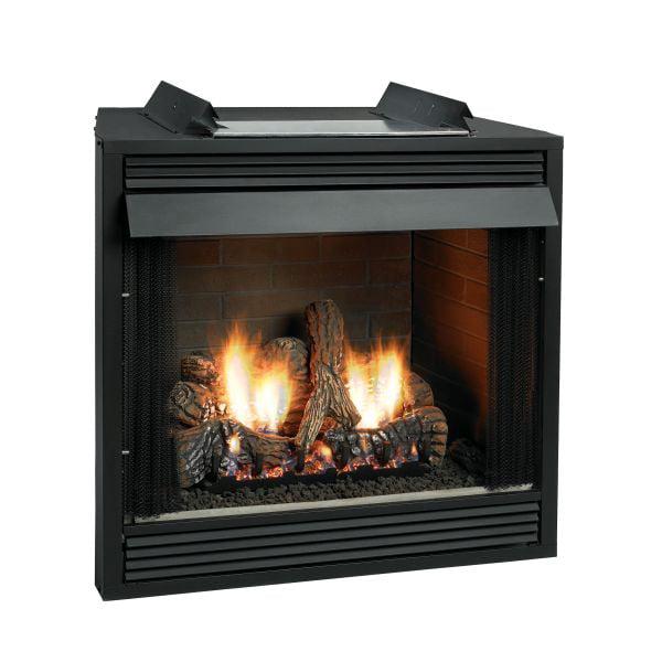 Premium 36 VF FF Firebox, CO Logset & Manual Slope Glaze Burner - LP