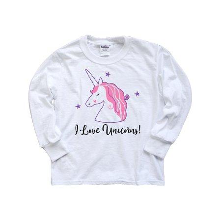 Unicorn Girls Cute Fantasy Gift Youth Long Sleeve T-Shirt