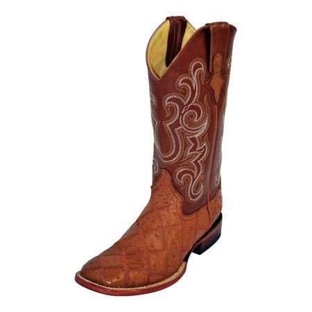 Ostrich Skin Boots - Western Boots Mens Ostrich Patchwork Cognac Cream 11693-02