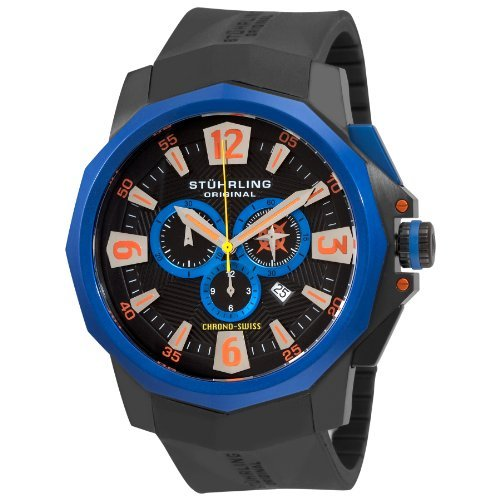 Stuhrling Original Men's 300.332L681 Admiral Swiss Quartz Chronograph Blue Bezel Watch