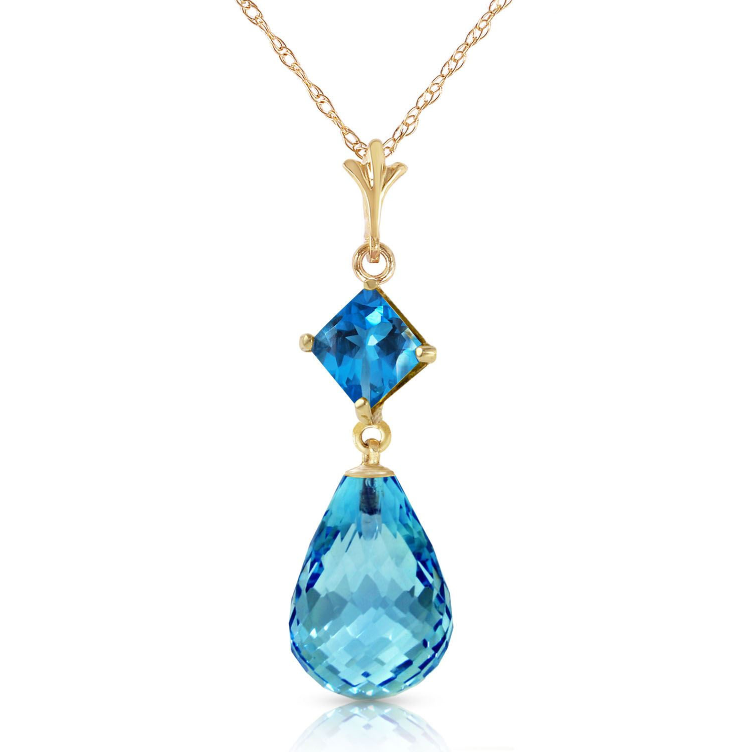 ALARRI 3.12 Carat 14K Solid White Gold Here I Stand Blue Topaz Necklace with 20 Inch Chain Length