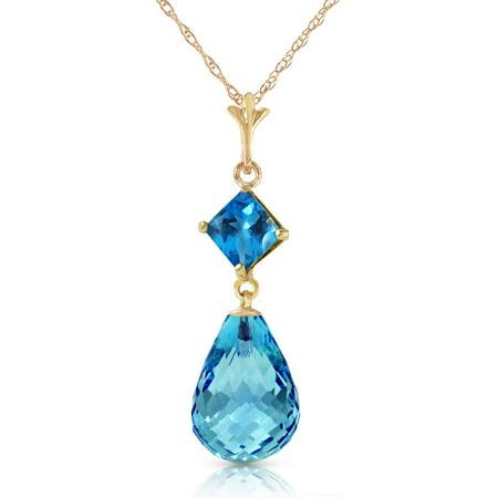 14k Gold Blue Topaz Necklace (ALARRI 5.5 Carat 14K Solid Gold Adventurous Blue Topaz Necklace with 22 Inch Chain Length. )