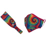 Girlie Girl Face Mask and Headband Set Cloth Covering Adult - Primary Tie Dye