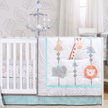 Safari Adventure 5 Piece Jungle Animal Theme Baby Crib Bedding Set