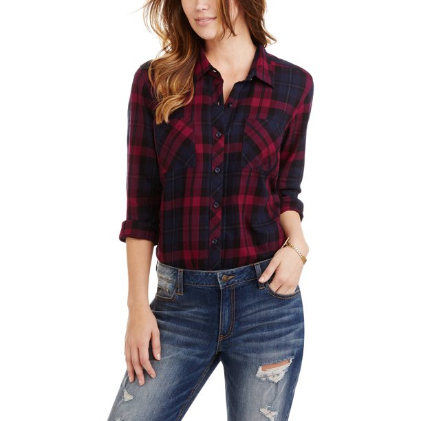 Women's Plaid Button Front Two-Pocket Shirt