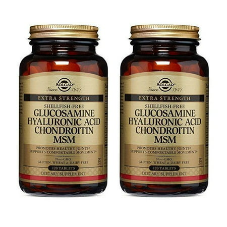 Glucosamine Chondroitin Msm 120 Tab - 2 Bottles of Solgar Glucosamine Hyaluronic Acid Chondroitin MSM, Shellfish-Free (120 Tablets)